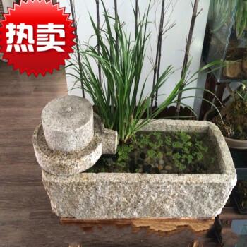 仿古新老旧石槽养鱼缸 民间水槽洗手盆 石磨竹子流水木架花盆水景 旧图片