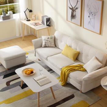 工匠时光布艺沙发 懒人实木北欧现代厅家具组合小户型图片