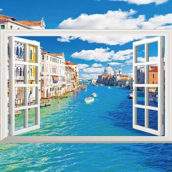 门扉 墙贴3d立体 pvc仿真墙贴纸卧室客厅假窗户风景画