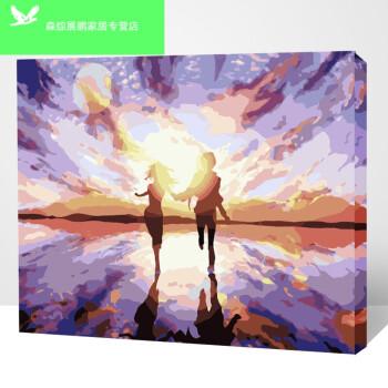 diy油画数字卧室 风景花卉动漫人物手绘油彩数字装饰画 拥抱夕阳 40*