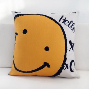 北欧ins现代简约情侣款可爱搞怪笑脸棉麻沙发抱枕套腰靠垫表情包 to图片