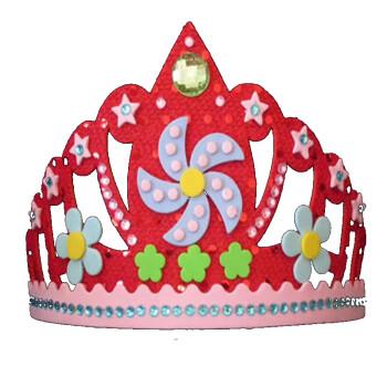 儿童皇冠头饰diy手工制作亮片头扣玩具生日聚会帽子 红色皇冠亮片头扣