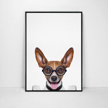 北欧创意装饰画客厅现代简约挂画个性可爱萌宠狗狗墙画小清新壁画 萌