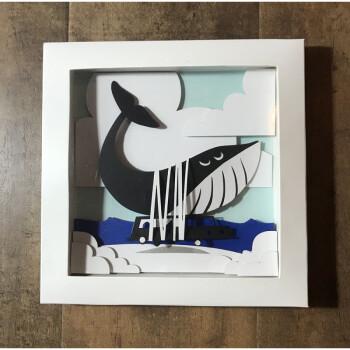艺术创意手工制作拼贴衍纸画儿童相框diy材料包立体纸艺图纸 卡车鲸鱼