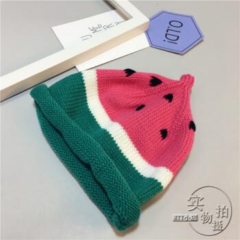 宝宝手工编织针织帽水果帽西瓜帽子秋冬可爱毛线帽保暖套头帽 手工