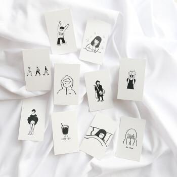 自制ins卡片 趣味手绘人物 黑白线条简笔画 chic韩风摆拍小卡片 一套