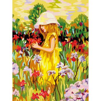 diy数字油画卡通儿童动物动漫手绘装饰画 30*40 两只小狗 爱丽丝与花