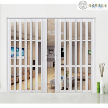PVC折叠门定制小折叠门 推拉移门 吊趟门 厨卫客厅隔断门卫浴门隔断 15种款式可选 白榉色