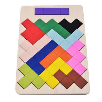 幼儿童木制拼图俄罗斯方块积木3-4-5岁宝宝子早教桌面