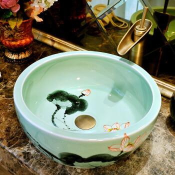 陶瓷洗脸盆椭圆形中式酒店家用艺术洗手盆手绘荷花台上盆 水墨绿荷花