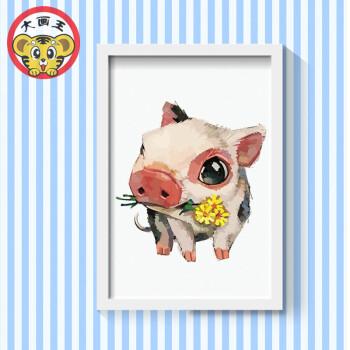 diy数字油画属兔情侣青少年儿童小动物填色手绘油画家庭小清新画sn图片