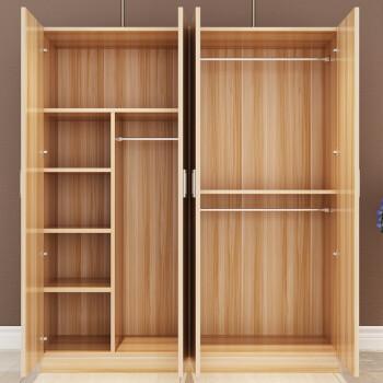 衣柜实木简约现代简易衣柜组装木质柜子23门卧室衣柜收纳衣橱 纯白色