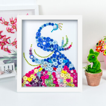 幼儿园儿童手工制作创意纽扣粘贴画花材料包含相裱框 凤凰鸟 含裱框