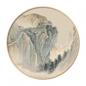 实木圆形框山水画新中式客厅装饰画玄关水墨国画禅意挂画风景壁画 a4
