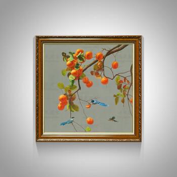 柿子油画手绘新中式玄关画装饰画客厅餐厅卧室书房挂画壁画风水好寓意