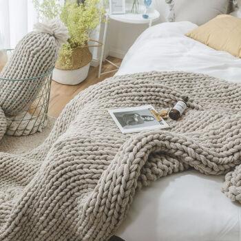 ins款粗毛线手工编织针织毛线毯子沙发盖毯粗线毯子 驼灰色 130*160