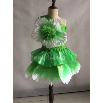 儿童环保塑料袋手工制作diy女孩演出服子时装秀走秀表演服 绿色 送
