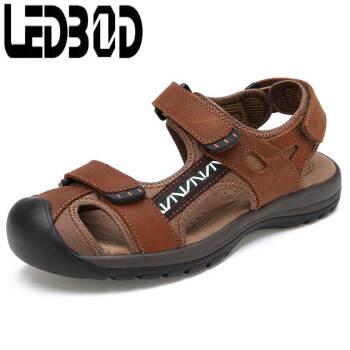 包头休闲运动皮凉鞋夏季正品男大码凉鞋潮L2018 浅棕色 40