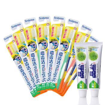 狮王LION 细齿洁弹力护龈牙刷*8支装 送松清新牙膏40g*2  ¥49.9,但是4套32支售价¥119.6