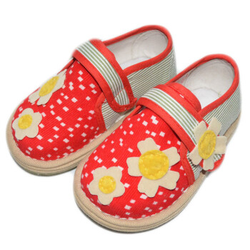 悦爱宝夏款宝宝学步鞋婴儿鞋纯手工布鞋婴幼儿童春秋单鞋红色太阳花