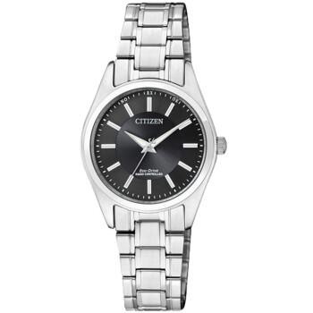 西铁城(CITIZEN)手表 光动能电波不锈钢表带情侣表女表ES5060-53E