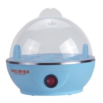 麦卓Makejoy煮蛋器MJ-2116蒸水蛋7蛋容 不锈钢发热盘配蒸蛋架 单层不带碗 淡蓝色-单层