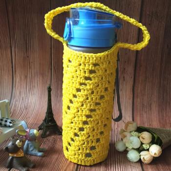 杯套 通用隔热防摔保温杯保护套玻璃杯套水杯子袋毛线手工编织 黄色