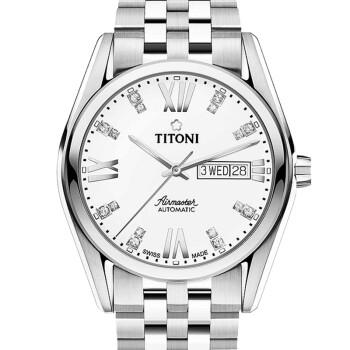 瑞士梅花titoni手表空霸系列自动机械星期日历钢带男表 白盘93709 s图片