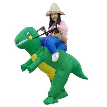 充气衣服小孩恐龙服装裤子坐骑表演人偶表演服儿童充气服 大人绿恐龙
