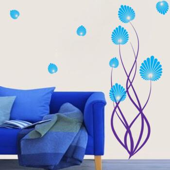 贴画客厅玄关走廊沙发背景蓝色紫色爱心贝壳花朵蓝色