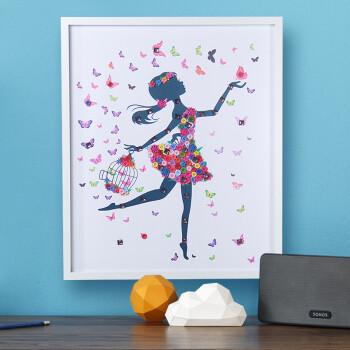 材料包儿童手工制作扣子粘贴画创意装饰画摆件 金色 舞蹈女50*60含框