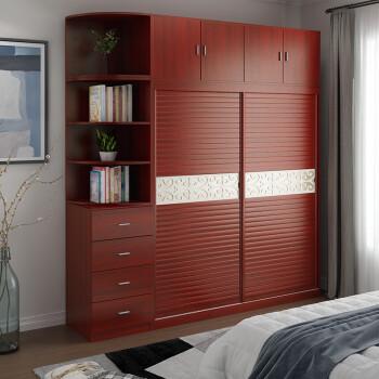 思发 衣柜推拉门两门整体卧室组合家具简约现代移门衣橱 暖白色1米主
