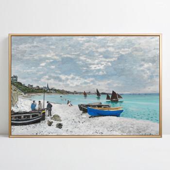 灯塔欧式客厅沙发背景墙地中海风景画装饰画墙壁画挂画墙画 莫奈海滩