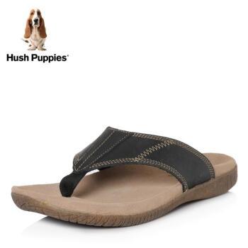 Hush Puppies/暇步士2018夏季专柜同款牛皮革男皮凉鞋拖鞋人字拖01830BT8 黑色 39