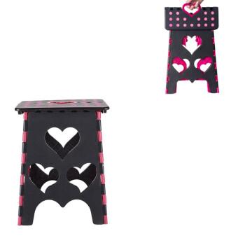 好尔(Hore)折叠凳子塑料凳子小方凳子便携 大号黑面红底1个装
