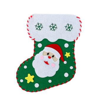幼儿园儿童手工制作创意diy圣诞袜材料包 圣诞节无纺布粘贴玩具 小号