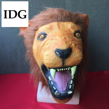 面具头套cos马头 狐狸驴兔派对猩猩猴万圣节恐怖搞笑直播道具 狮子