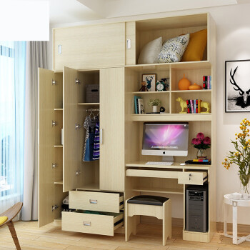 衣柜带书桌书桌书柜衣柜衣橱写字台台式电脑桌多功能组合连体学习电脑