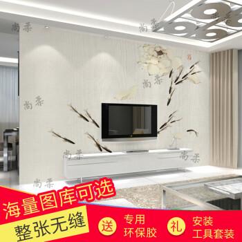 简约客厅电视背景墙壁画中式卧室墙纸定制自粘影视墙壁纸手绘墙布