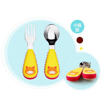 美国skip hop可爱动物园宝宝不锈钢叉勺套装儿童餐具套装不含bpa小猫