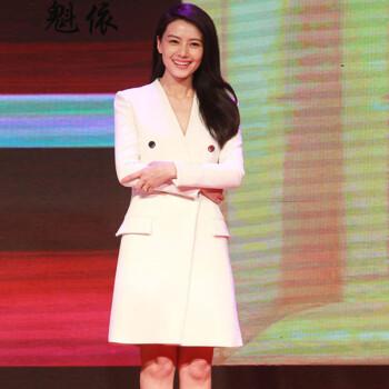 魁依2015秋装高圆圆刘亦菲明星同款 西装时尚修身风衣