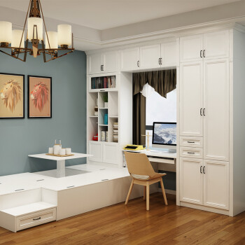 简欧飘窗榻榻米定制整体组合床现代简约小户型卧室空间 tt-205 小电脑