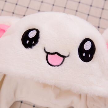 抖音帽子会动兔耳朵帽子抖音同款网红气囊帽女生可爱一捏长耳朵的兔子