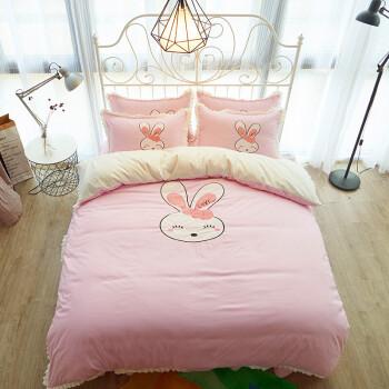 韩式公主四件套 床裙床笠床上用品可爱卡通学生宿舍双人 可爱兔-粉 1.