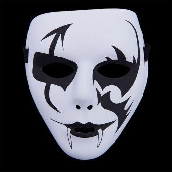 儿童节面具儿童全脸舞会步舞街舞男女白色鬼脸恐怖舞客手绘 鬼舞獠牙图片