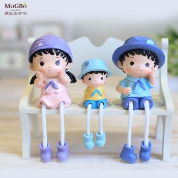 蘑菇堡树脂娃娃饰品摆件工艺卡通可爱一家三口儿童玩具摆件卡通三口之图片