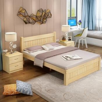 简易木床 简欧实木无抽床(环保无油漆)+ 配垫 1200mm*2000mm 框架结构