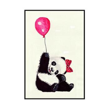 盐马艺术 卡通熊猫装饰画客厅三联画创意动物形象挂画可爱萌宠墙上