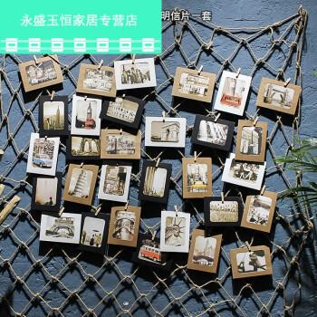创意酒吧咖啡厅悬挂网格照片墙装饰餐厅留言板麻绳夹子墙面明信片图片