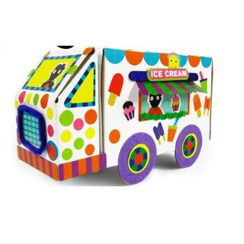 diy手工课材料包制作纸盒汽车巴士幼儿园创意美劳课程小男孩 冰激凌车图片